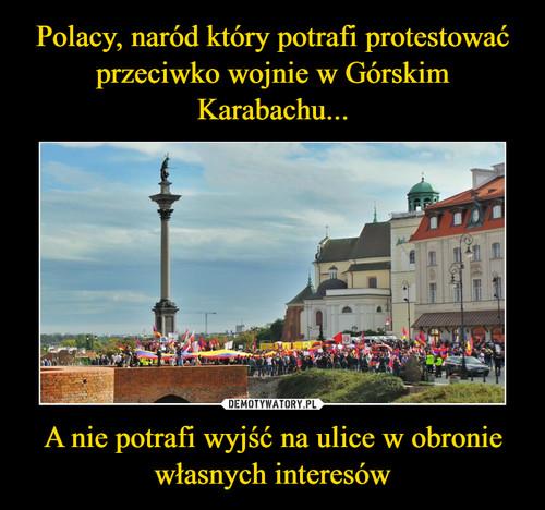 Polacy, naród który potrafi protestować przeciwko wojnie w Górskim Karabachu... A nie potrafi wyjść na ulice w obronie własnych interesów