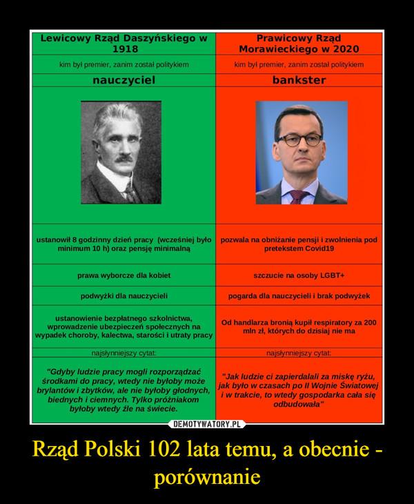 Rząd Polski 102 lata temu, a obecnie - porównanie –
