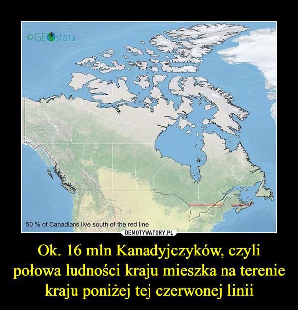 Ok. 16 mln Kanadyjczyków, czyli połowa ludności kraju mieszka na terenie kraju poniżej tej czerwonej linii –