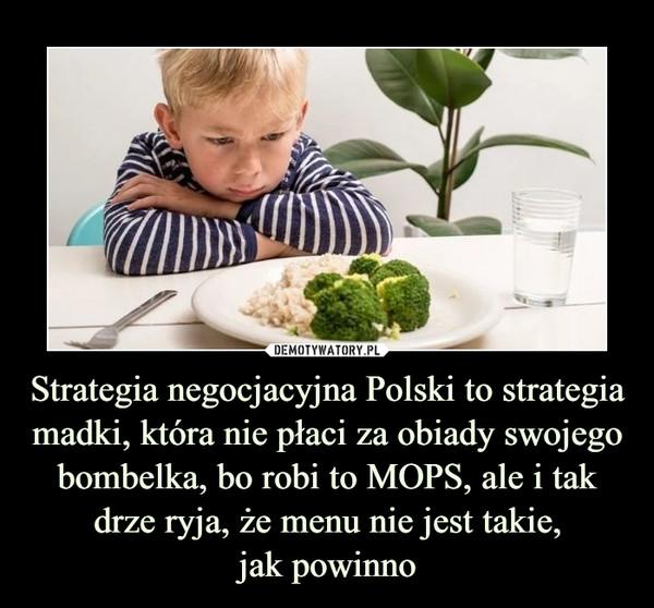 Strategia negocjacyjna Polski to strategia madki, która nie płaci za obiady swojego bombelka, bo robi to MOPS, ale i tak drze ryja, że menu nie jest takie,jak powinno –