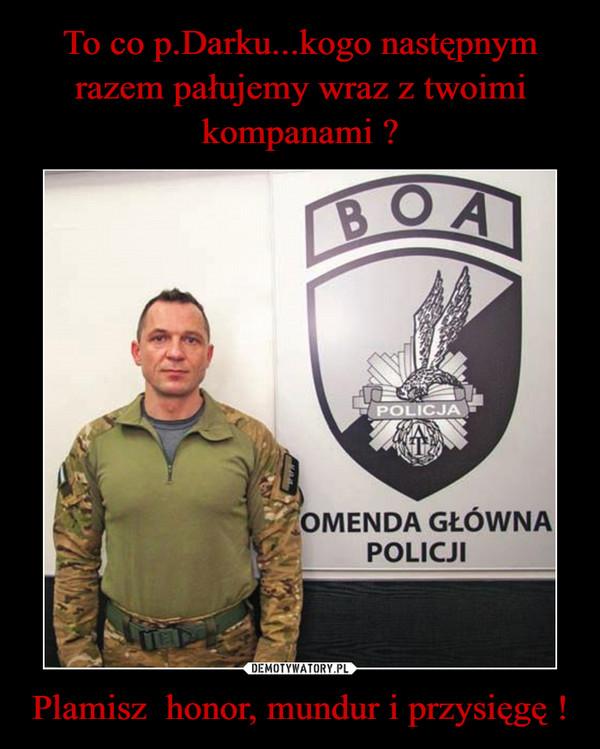 Plamisz  honor, mundur i przysięgę ! –