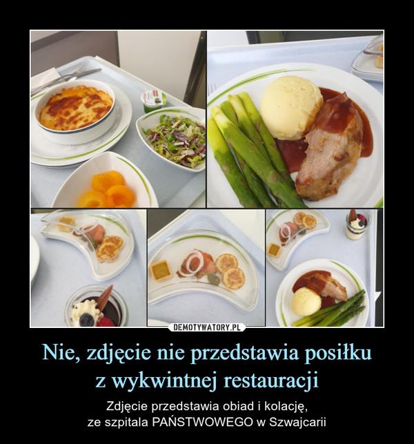 Nie, zdjęcie nie przedstawia posiłkuz wykwintnej restauracji – Zdjęcie przedstawia obiad i kolację,ze szpitala PAŃSTWOWEGO w Szwajcarii