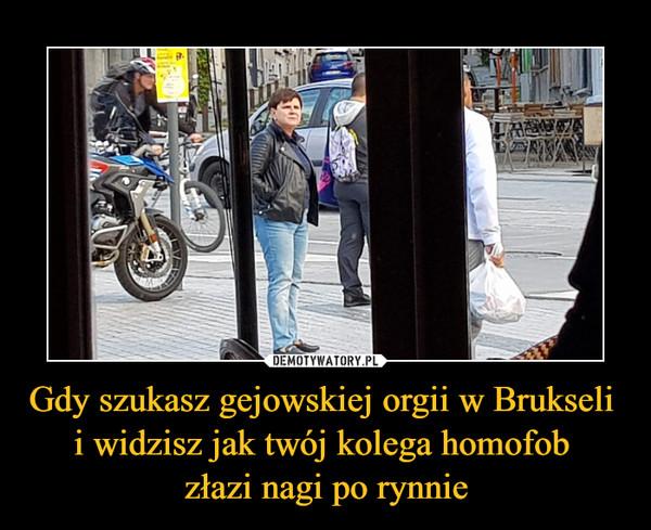 Gdy szukasz gejowskiej orgii w Brukseli i widzisz jak twój kolega homofob złazi nagi po rynnie –
