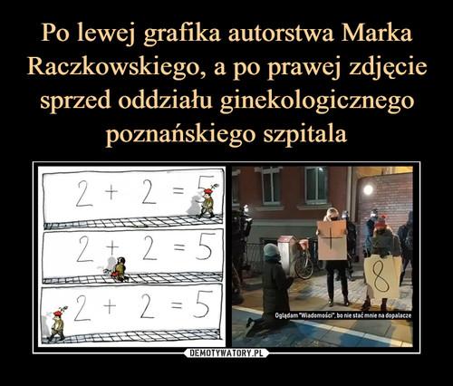 Po lewej grafika autorstwa Marka Raczkowskiego, a po prawej zdjęcie sprzed oddziału ginekologicznego poznańskiego szpitala