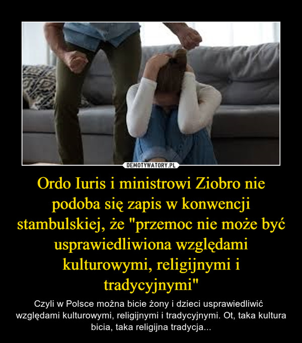 """Ordo Iuris i ministrowi Ziobro nie podoba się zapis w konwencji stambulskiej, że """"przemoc nie może być usprawiedliwiona względami kulturowymi, religijnymi i tradycyjnymi"""" – Czyli w Polsce można bicie żony i dzieci usprawiedliwić   względami kulturowymi, religijnymi i tradycyjnymi. Ot, taka kultura bicia, taka religijna tradycja..."""