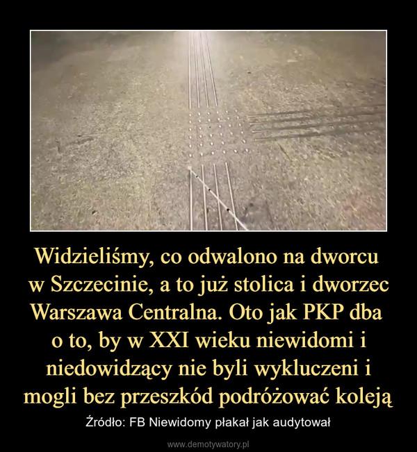 Widzieliśmy, co odwalono na dworcu w Szczecinie, a to już stolica i dworzec Warszawa Centralna. Oto jak PKP dba o to, by w XXI wieku niewidomi i niedowidzący nie byli wykluczeni i mogli bez przeszkód podróżować koleją – Źródło: FB Niewidomy płakał jak audytował
