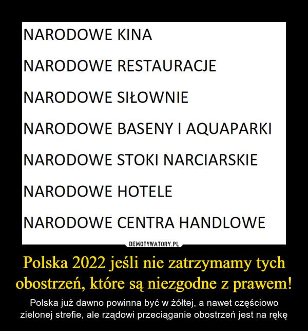 Polska 2022 jeśli nie zatrzymamy tych obostrzeń, które są niezgodne z prawem!