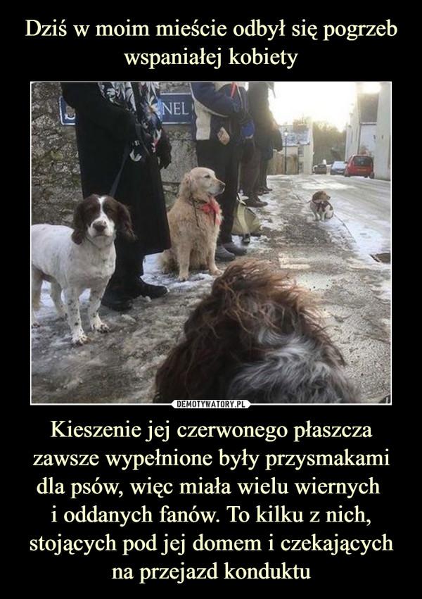 Kieszenie jej czerwonego płaszcza zawsze wypełnione były przysmakami dla psów, więc miała wielu wiernych i oddanych fanów. To kilku z nich, stojących pod jej domem i czekających na przejazd konduktu –