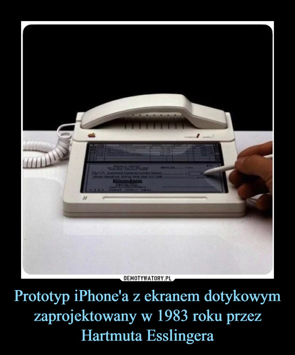 Prototyp iPhone'a z ekranem dotykowym zaprojektowany w 1983 roku przez Hartmuta Esslingera –