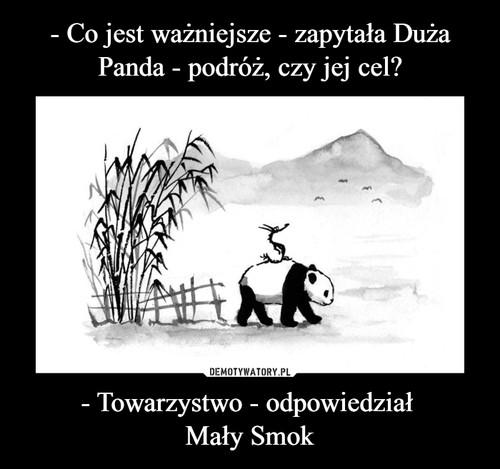 - Co jest ważniejsze - zapytała Duża Panda - podróż, czy jej cel? - Towarzystwo - odpowiedział  Mały Smok