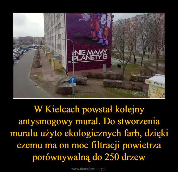 W Kielcach powstał kolejny antysmogowy mural. Do stworzenia muralu użyto ekologicznych farb, dzięki czemu ma on moc filtracji powietrza porównywalną do 250 drzew –