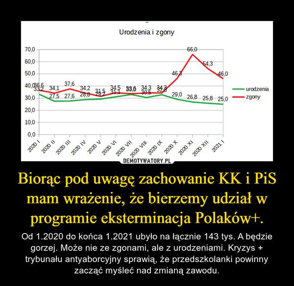 Biorąc pod uwagę zachowanie KK i PiS mam wrażenie, że bierzemy udział w programie eksterminacja Polaków+. – Od 1.2020 do końca 1.2021 ubyło na łącznie 143 tys. A będzie gorzej. Może nie ze zgonami, ale z urodzeniami. Kryzys + trybunału antyaborcyjny sprawią, że przedszkolanki powinny zacząć myśleć nad zmianą zawodu.