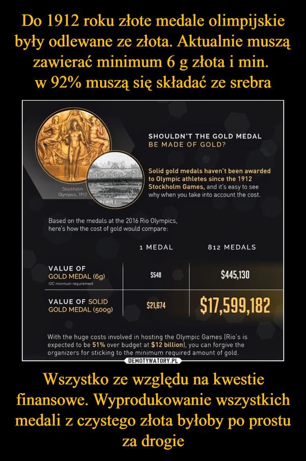 Wszystko ze względu na kwestie finansowe. Wyprodukowanie wszystkich medali z czystego złota byłoby po prostu za drogie –