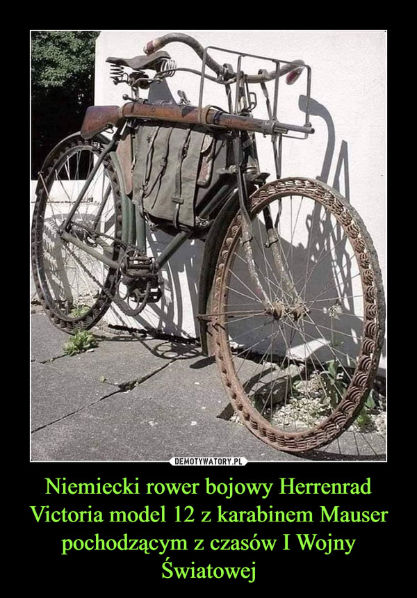 Niemiecki rower bojowy Herrenrad Victoria model 12 z karabinem Mauser pochodzącym z czasów I Wojny Światowej –