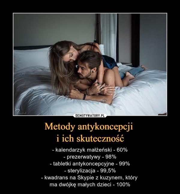 Metody antykoncepcji i ich skuteczność – - kalendarzyk małżeński - 60%- prezerwatywy - 98%- tabletki antykoncepcyjne - 99%- sterylizacja - 99,5%- kwadrans na Skypie z kuzynem, który ma dwójkę małych dzieci - 100%