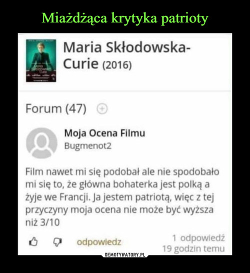 Miażdżąca krytyka patrioty