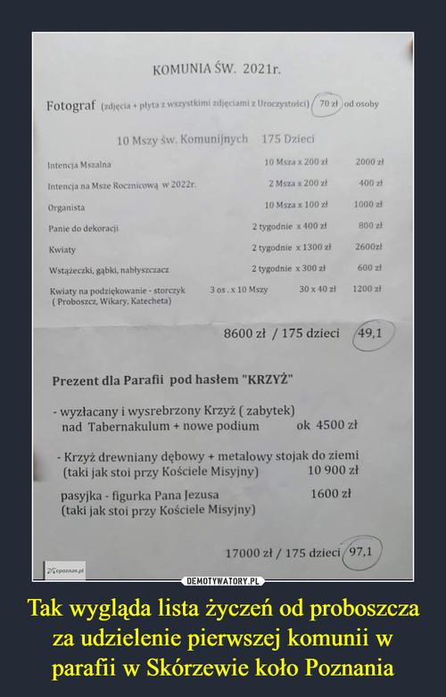 Tak wygląda lista życzeń od proboszcza za udzielenie pierwszej komunii w parafii w Skórzewie koło Poznania