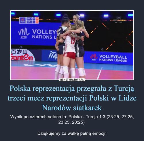 Polska reprezentacja przegrała z Turcją trzeci mecz reprezentacji Polski w Lidze Narodów siatkarek