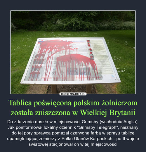 Tablica poświęcona polskim żołnierzom została zniszczona w Wielkiej Brytanii