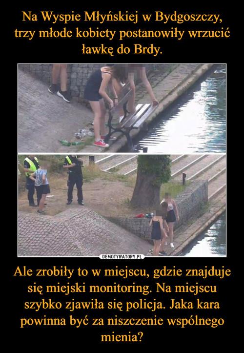 Na Wyspie Młyńskiej w Bydgoszczy, trzy młode kobiety postanowiły wrzucić ławkę do Brdy. Ale zrobiły to w miejscu, gdzie znajduje się miejski monitoring. Na miejscu szybko zjawiła się policja. Jaka kara powinna być za niszczenie wspólnego mienia?