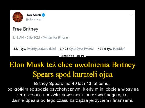 Elon Musk też chce uwolnienia Britney Spears spod kurateli ojca