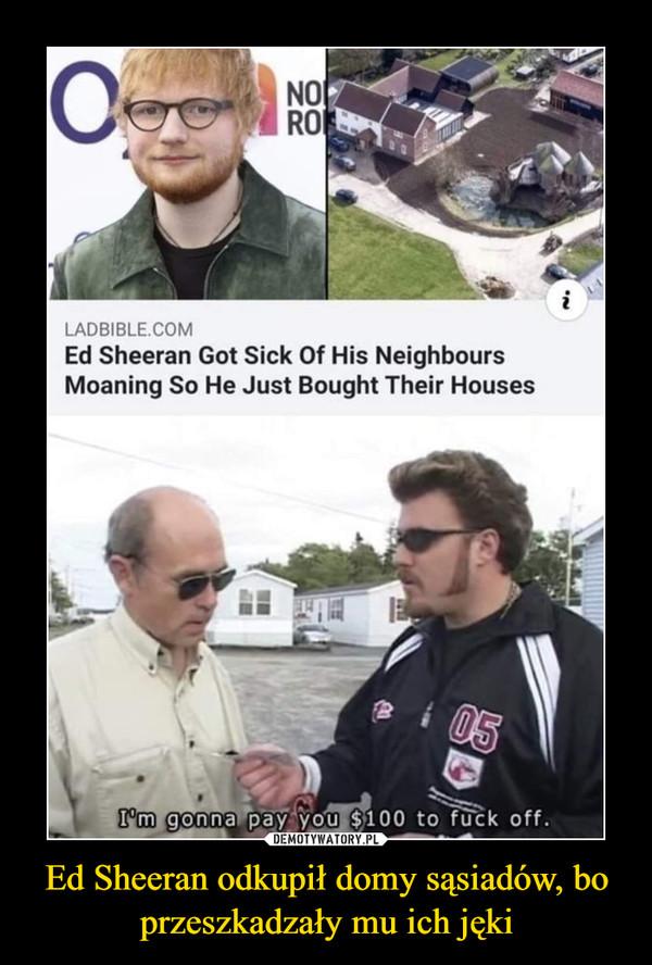 Ed Sheeran odkupił domy sąsiadów, bo przeszkadzały mu ich jęki –