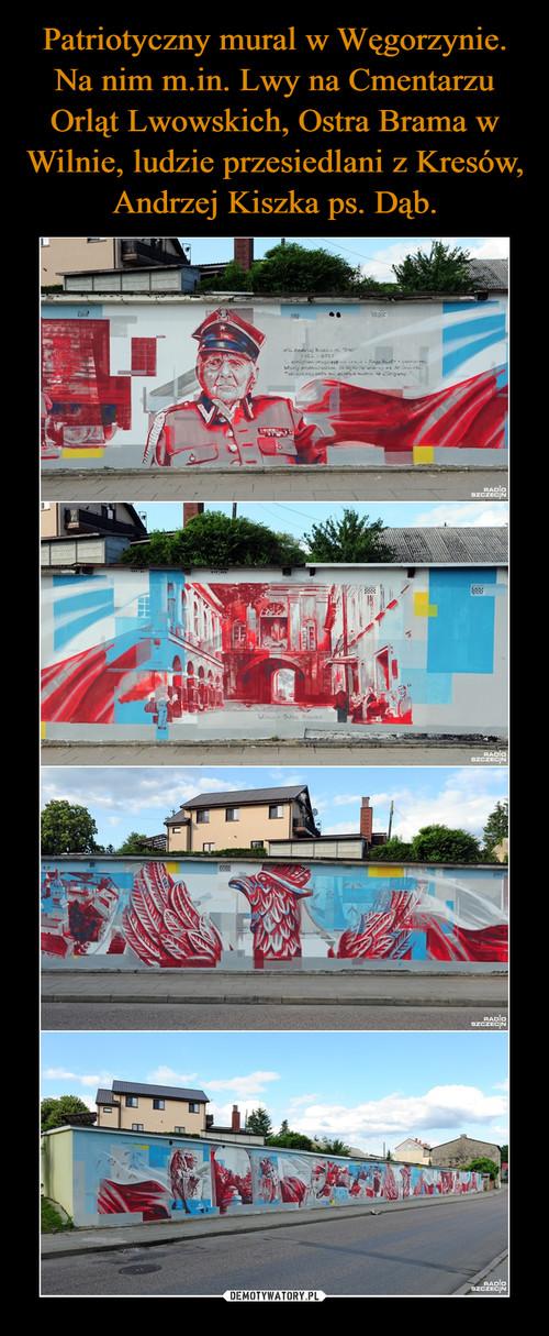 Patriotyczny mural w Węgorzynie. Na nim m.in. Lwy na Cmentarzu Orląt Lwowskich, Ostra Brama w Wilnie, ludzie przesiedlani z Kresów,  Andrzej Kiszka ps. Dąb.