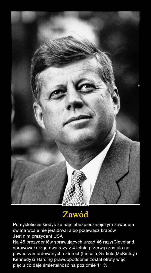 Zawód – Pomyśleliście kiedyś że najniebezpieczniejszym zawodem świata wcale nie jest drwal albo poławiacz krabówJest nim prezydent USANa 45 prezydentów sprawujących urząd 46 razy(Cleveland sprawował urząd dwa razy z 4 letnia przerwą) zostało na pewno zamordowanych czterech(Lincoln,Garfield,McKinley i Kennedy)a Harding prawdopodobnie został otruty więc pięciu co daje śmiertelność na poziomie 11 %