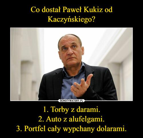 Co dostał Paweł Kukiz od Kaczyńskiego? 1. Torby z darami. 2. Auto z alufelgami. 3. Portfel cały wypchany dolarami.