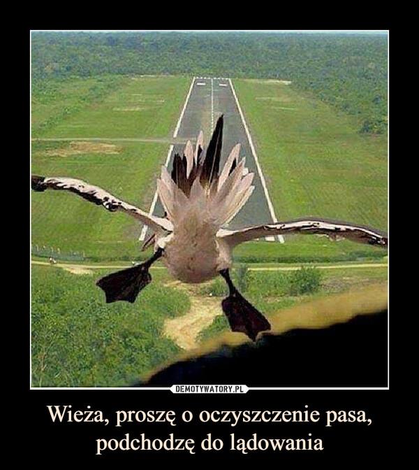 Wieża, proszę o oczyszczenie pasa, podchodzę do lądowania –