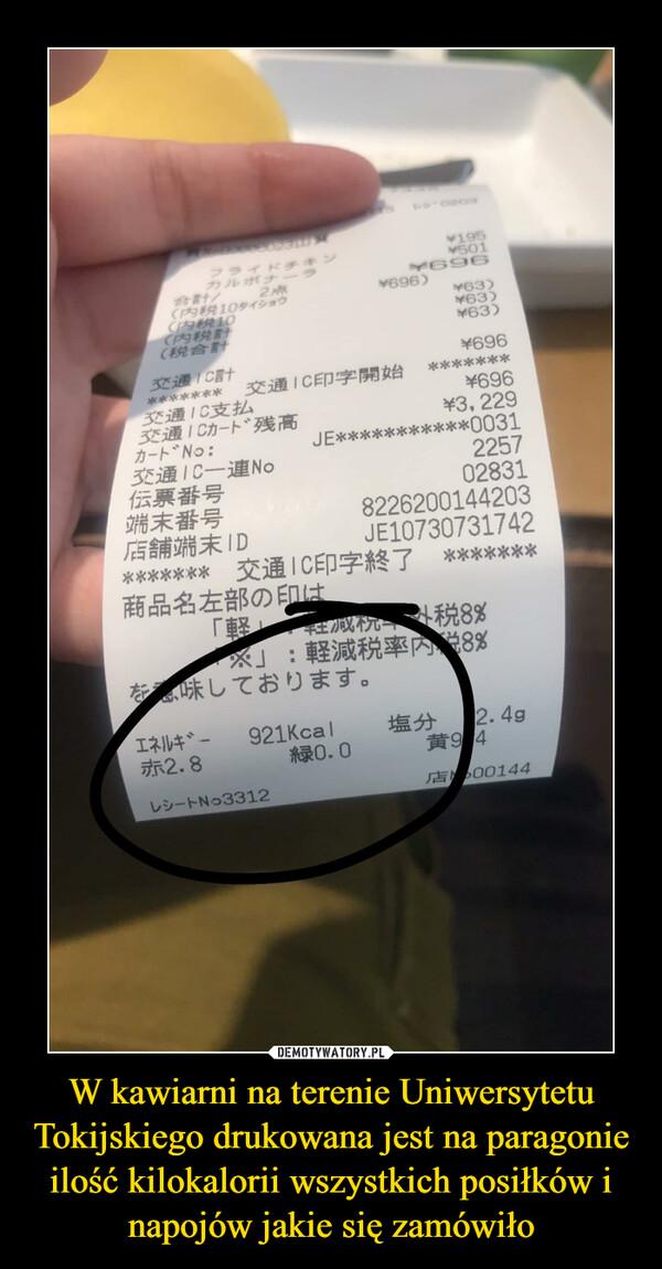 W kawiarni na terenie Uniwersytetu Tokijskiego drukowana jest na paragonie ilość kilokalorii wszystkich posiłków i napojów jakie się zamówiło –