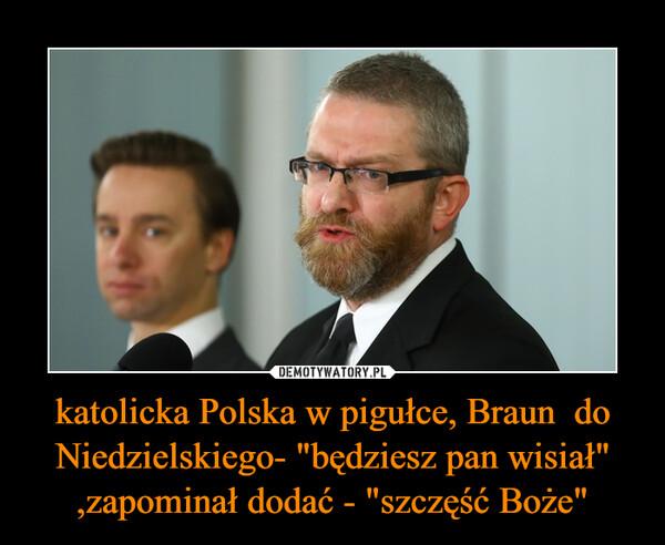 """katolicka Polska w pigułce, Braun  do Niedzielskiego- """"będziesz pan wisiał"""" ,zapominał dodać - """"szczęść Boże"""" –"""