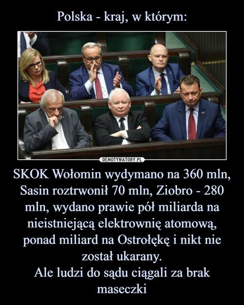 Polska - kraj, w którym: SKOK Wołomin wydymano na 360 mln, Sasin roztrwonił 70 mln, Ziobro - 280 mln, wydano prawie pół miliarda na nieistniejącą elektrownię atomową, ponad miliard na Ostrołękę i nikt nie został ukarany. Ale ludzi do sądu ciągali za brak maseczki