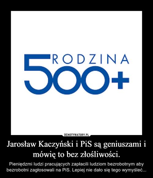 Jarosław Kaczyński i PiS są geniuszami i mówię to bez złośliwości.